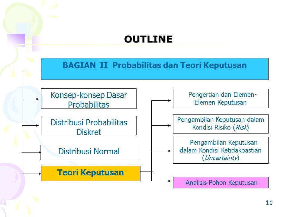 OUTLINE BAGIAN II Probabilitas dan Teori Keputusan Konsep-konsep Dasar Probabilitas Distribusi Probabilitas Diskret Distribusi Normal Teori Keputusan