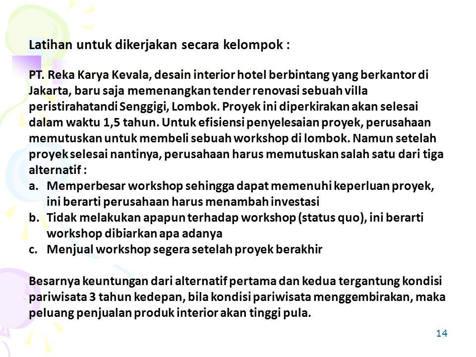 Latihan untuk dikerjakan secara kelompok : PT. Reka Karya Kevala, desain interior hotel berbintang yang berkantor di Jakarta, baru saja memenangkan te