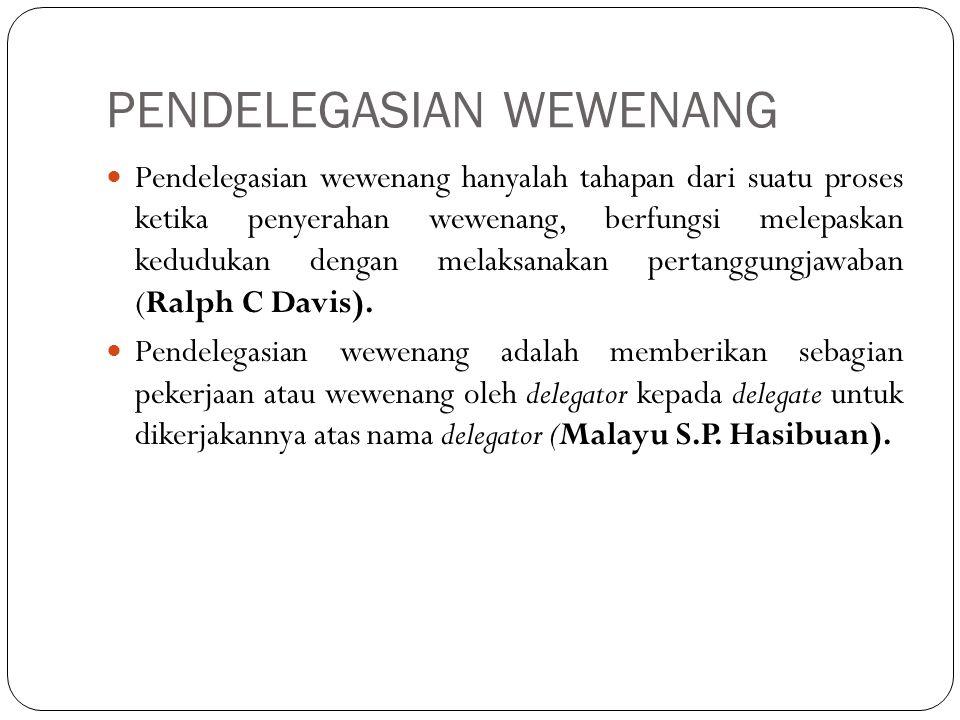 Asas Pendelegasian Wewenang Asas kepercayaan Asas delegasi atau hasil yang diharapkan Asas penentuan fungsi atau asas kejelasan tugas Asas rantai berkala Asas tingkat wewenang Asas kesatuan komando Asas keseimbangan wewenang dan tanggung jawab Asas pembagian kerja Asas efisiensi Asas kemutlakan tanggung jawab