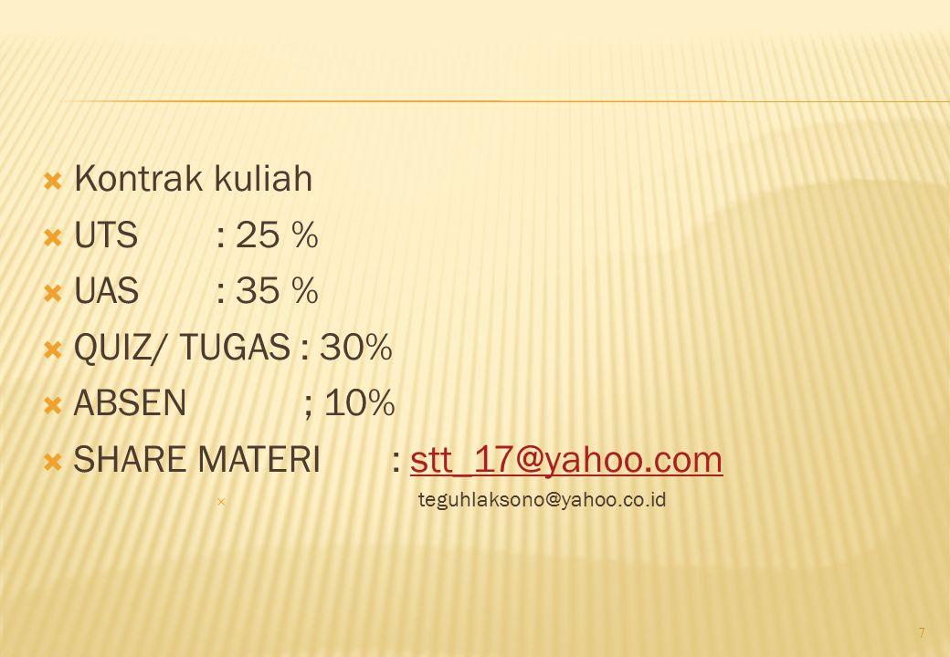 Kontrak kuliah  UTS : 25 %  UAS: 35 %  QUIZ/ TUGAS : 30%  ABSEN; 10%  SHARE MATERI: stt_17@yahoo.comstt_17@yahoo.com  teguhlaksono@yahoo.co.id 7