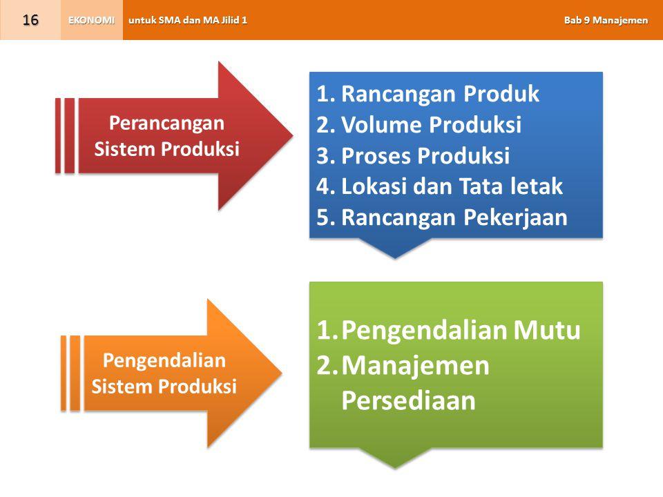 untuk SMA dan MA Jilid 1 Bab 9 Manajemen EKONOMI 16 Perancangan Sistem Produksi Pengendalian Sistem Produksi 1.Rancangan Produk 2.Volume Produksi 3.Pr