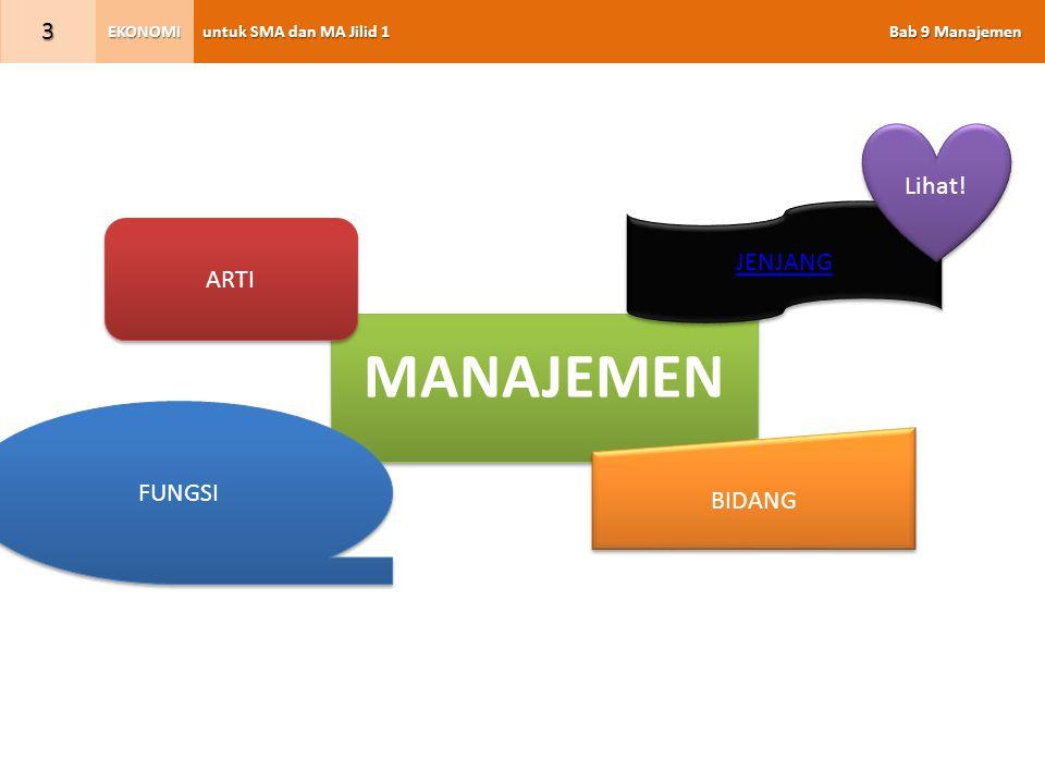 untuk SMA dan MA Jilid 1 Bab 9 Manajemen EKONOMI 3 MANAJEMEN ARTI JENJANG FUNGSI BIDANG Lihat!