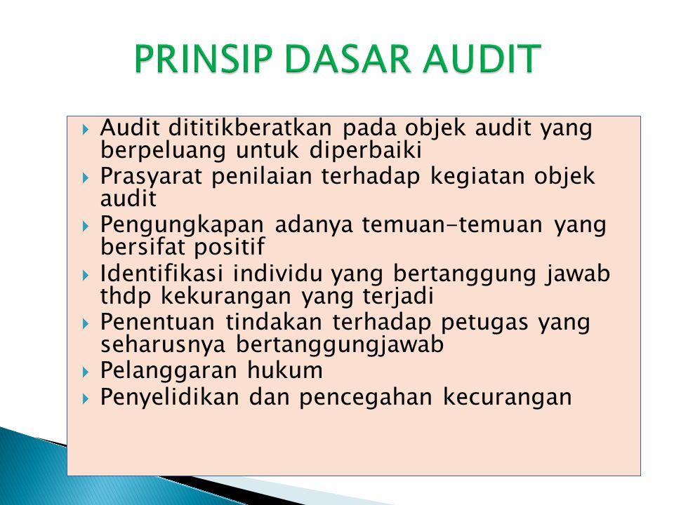  Audit dititikberatkan pada objek audit yang berpeluang untuk diperbaiki  Prasyarat penilaian terhadap kegiatan objek audit  Pengungkapan adanya te