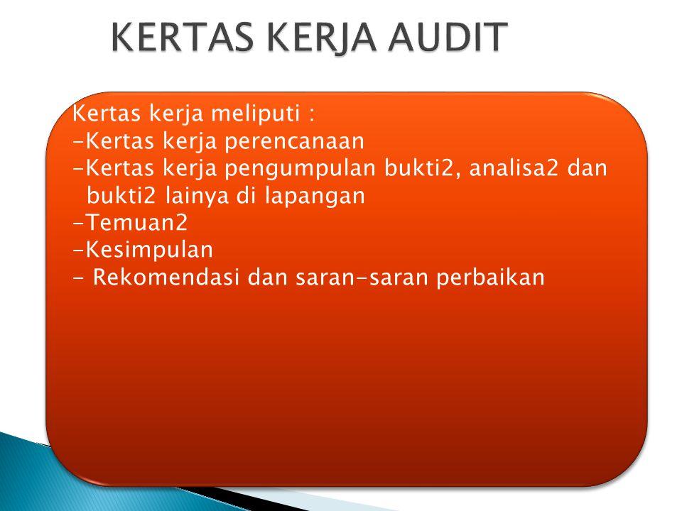 Kertas kerja meliputi : -Kertas kerja perencanaan -Kertas kerja pengumpulan bukti2, analisa2 dan bukti2 lainya di lapangan -Temuan2 -Kesimpulan - Reko