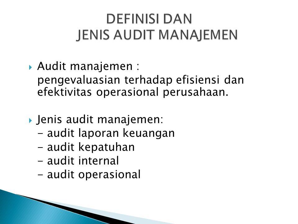  Audit manajemen : pengevaluasian terhadap efisiensi dan efektivitas operasional perusahaan.  Jenis audit manajemen: - audit laporan keuangan - audi