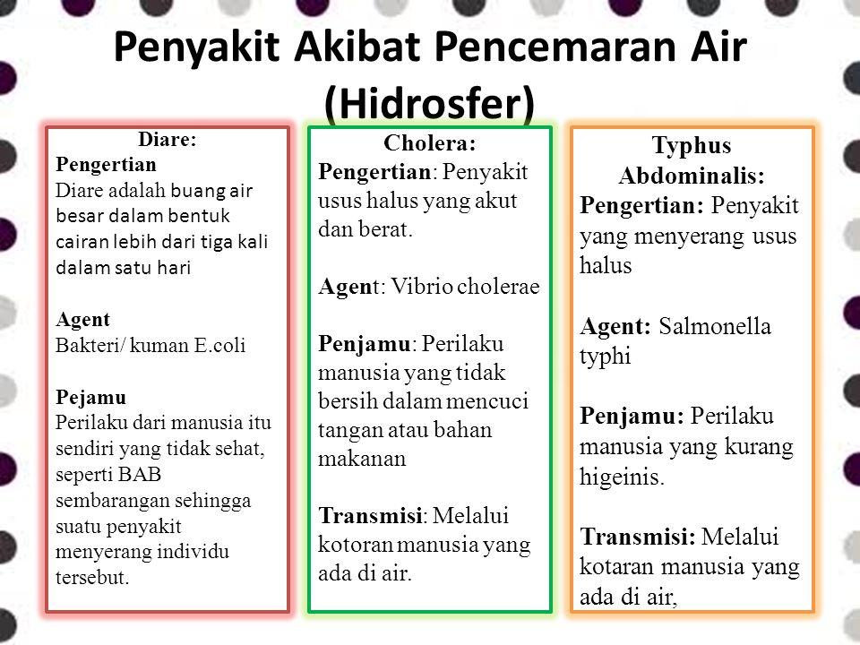 Penyakit Akibat Pencemaran Air (Hidrosfer) Diare: Pengertian Diare adalah buang air besar dalam bentuk cairan lebih dari tiga kali dalam satu hari Age