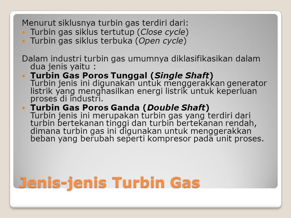 Jenis-jenis Turbin Gas Menurut siklusnya turbin gas terdiri dari: Turbin gas siklus tertutup (Close cycle) Turbin gas siklus terbuka (Open cycle) Dala