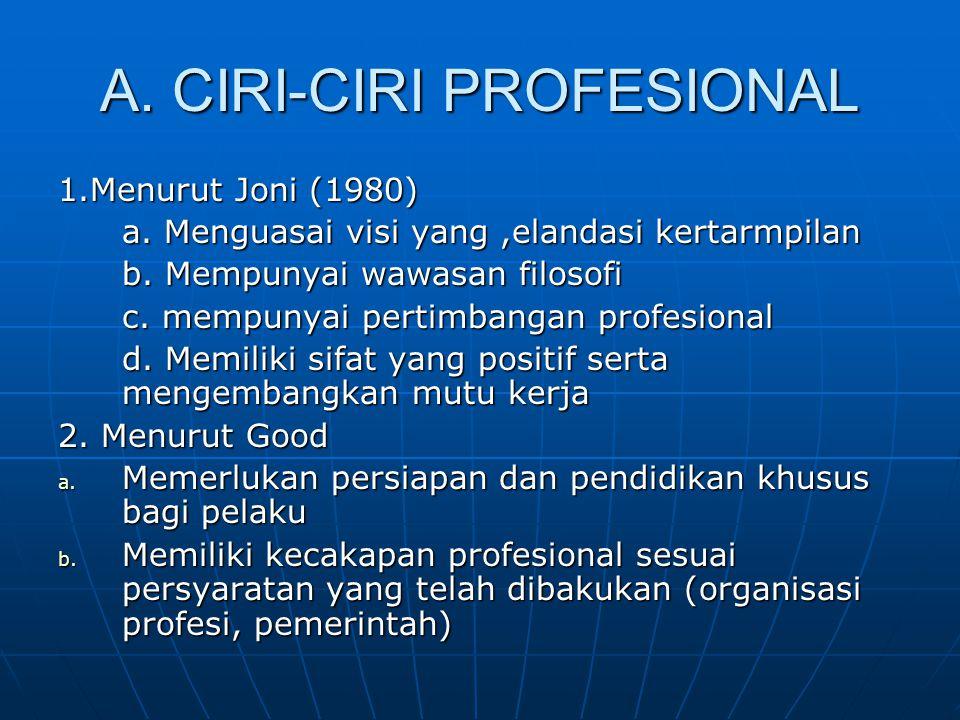 A. CIRI-CIRI PROFESIONAL 1.Menurut Joni (1980) a. Menguasai visi yang,elandasi kertarmpilan b. Mempunyai wawasan filosofi c. mempunyai pertimbangan pr