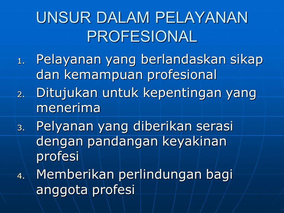 UNSUR DALAM PELAYANAN PROFESIONAL 1. Pelayanan yang berlandaskan sikap dan kemampuan profesional 2. Ditujukan untuk kepentingan yang menerima 3. Pelya