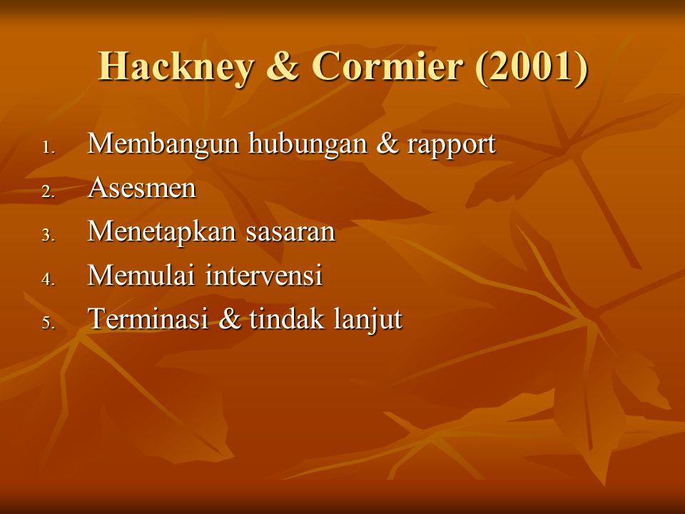 Hackney & Cormier (2001) 1. Membangun hubungan & rapport 2. Asesmen 3. Menetapkan sasaran 4. Memulai intervensi 5. Terminasi & tindak lanjut