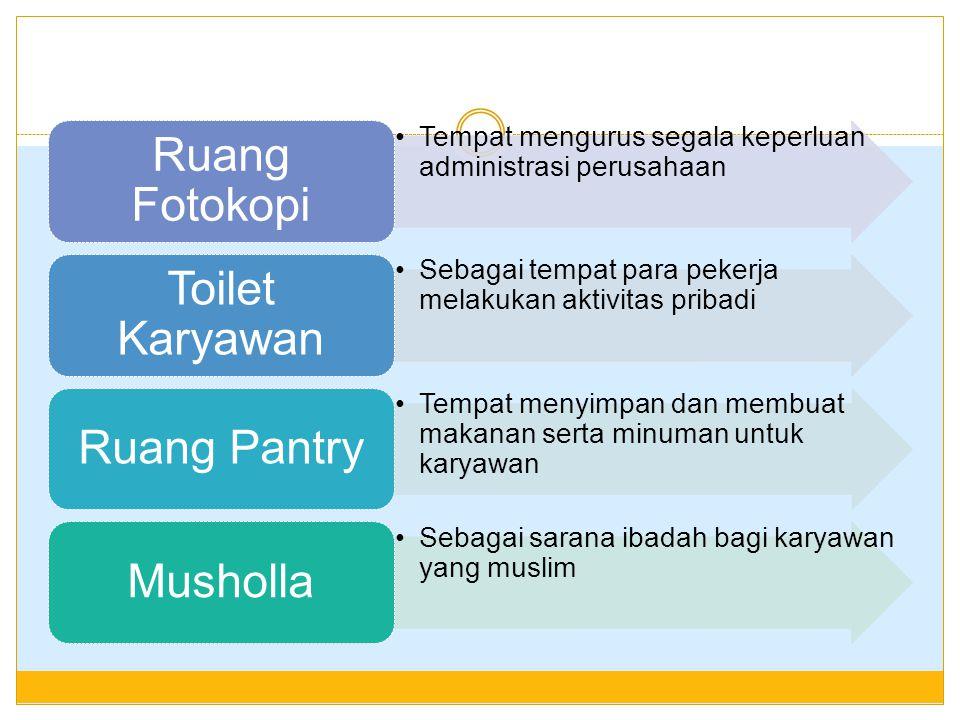 Tempat mengurus segala keperluan administrasi perusahaan Ruang Fotokopi Sebagai tempat para pekerja melakukan aktivitas pribadi Toilet Karyawan Tempat