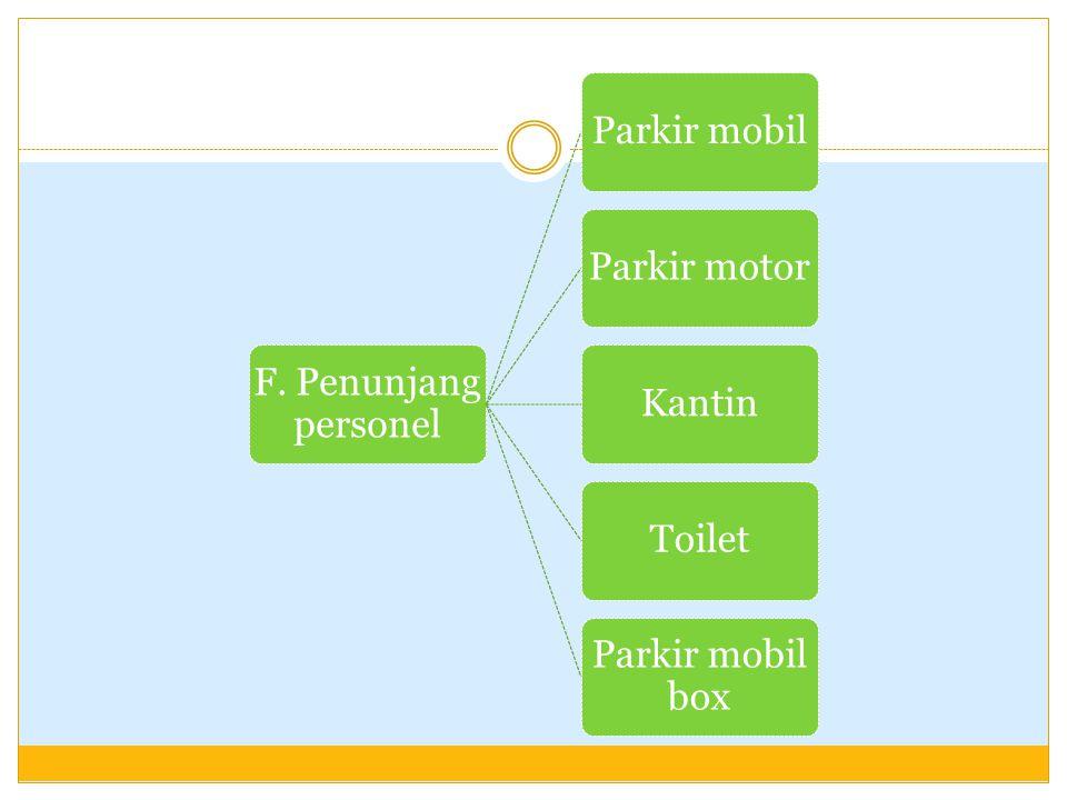 F. Penunjang personel Parkir mobil Parkir motor Kantin Toilet Parkir mobil box