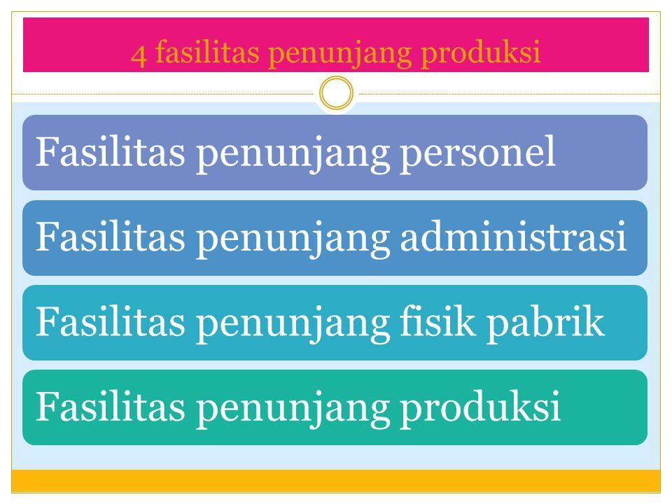4 fasilitas penunjang produksi Fasilitas penunjang personel Fasilitas penunjang administrasi Fasilitas penunjang fisik pabrik Fasilitas penunjang prod