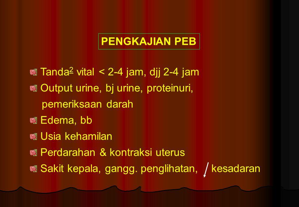 PENGKAJIAN PEB Tanda 2 vital < 2-4 jam, djj 2-4 jam Output urine, bj urine, proteinuri, pemeriksaan darah Edema, bb Usia kehamilan Perdarahan & kontra