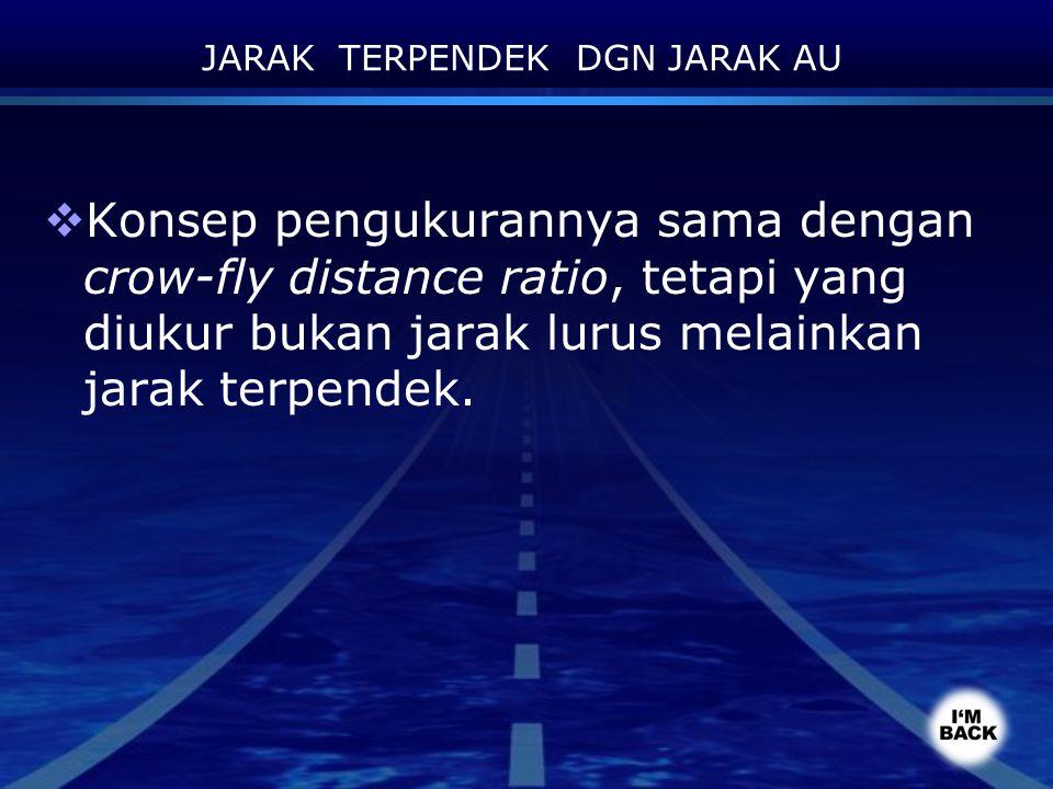 JARAK TERPENDEK DGN JARAK AU  Konsep pengukurannya sama dengan crow-fly distance ratio, tetapi yang diukur bukan jarak lurus melainkan jarak terpende
