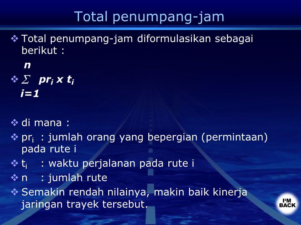 Total penumpang-jam  Total penumpang-jam diformulasikan sebagai berikut : n   pr i x t i i=1  di mana :  pr i : jumlah orang yang bepergian (perm