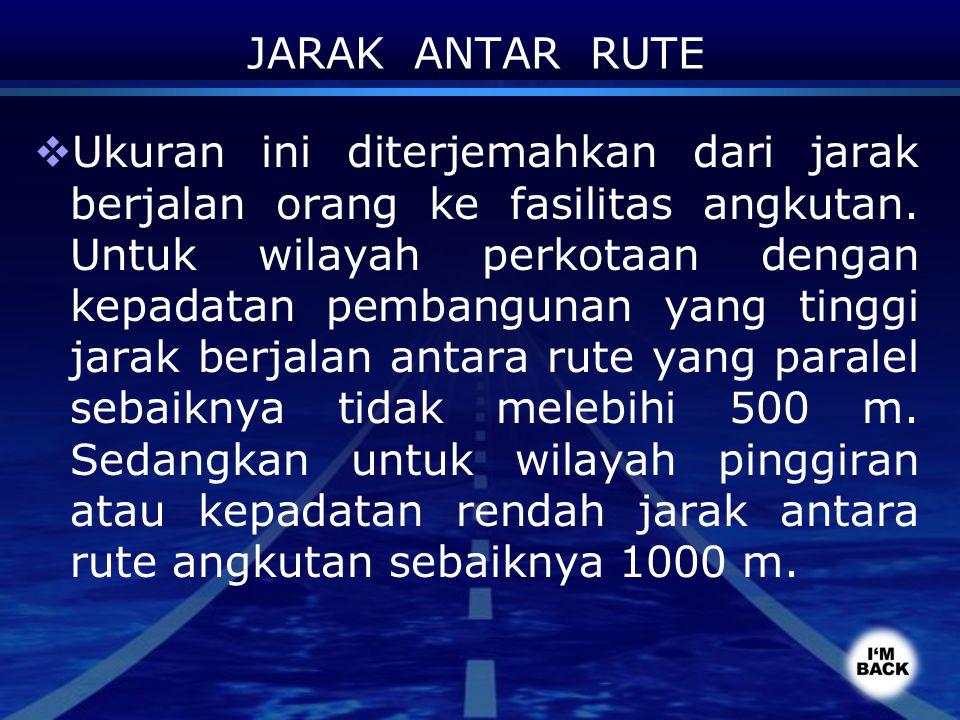 JARAK ANTAR RUTE  Ukuran ini diterjemahkan dari jarak berjalan orang ke fasilitas angkutan. Untuk wilayah perkotaan dengan kepadatan pembangunan yang