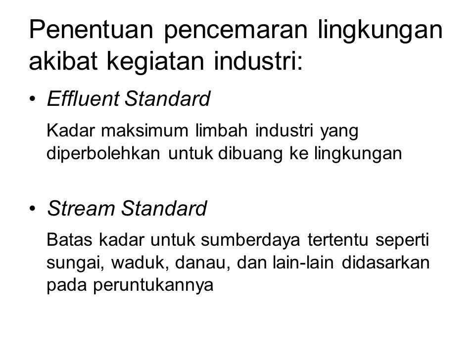 Penentuan pencemaran lingkungan akibat kegiatan industri: Effluent Standard Kadar maksimum limbah industri yang diperbolehkan untuk dibuang ke lingkungan Stream Standard Batas kadar untuk sumberdaya tertentu seperti sungai, waduk, danau, dan lain-lain didasarkan pada peruntukannya