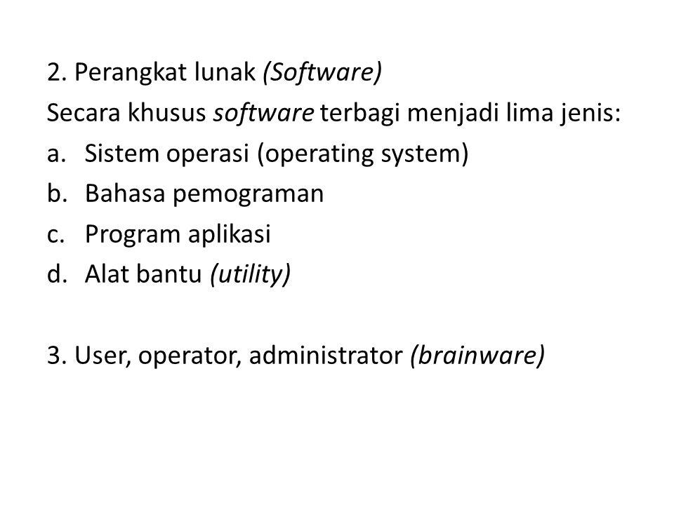 2. Perangkat lunak (Software) Secara khusus software terbagi menjadi lima jenis: a.Sistem operasi (operating system) b.Bahasa pemograman c.Program apl
