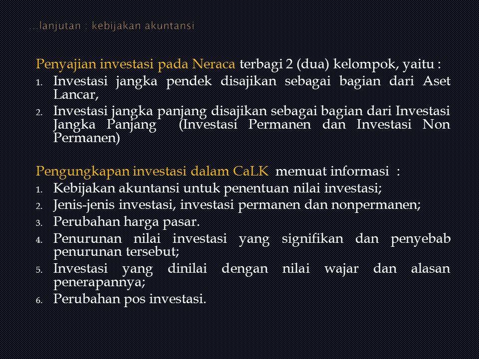 Penyajian investasi pada Neraca terbagi 2 (dua) kelompok, yaitu : 1. Investasi jangka pendek disajikan sebagai bagian dari Aset Lancar, 2. Investasi j
