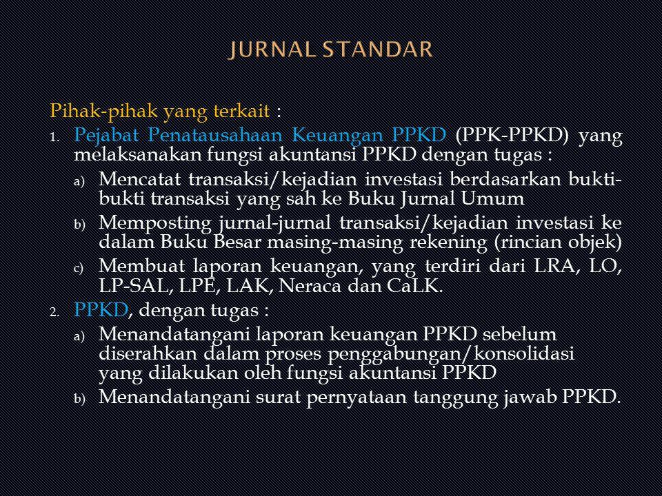 Pihak-pihak yang terkait : 1. Pejabat Penatausahaan Keuangan PPKD (PPK-PPKD) yang melaksanakan fungsi akuntansi PPKD dengan tugas : a) Mencatat transa