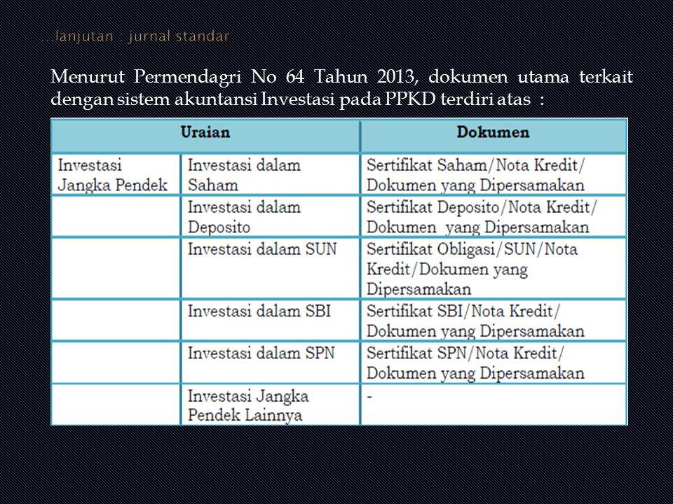 Menurut Permendagri No 64 Tahun 2013, dokumen utama terkait dengan sistem akuntansi Investasi pada PPKD terdiri atas :