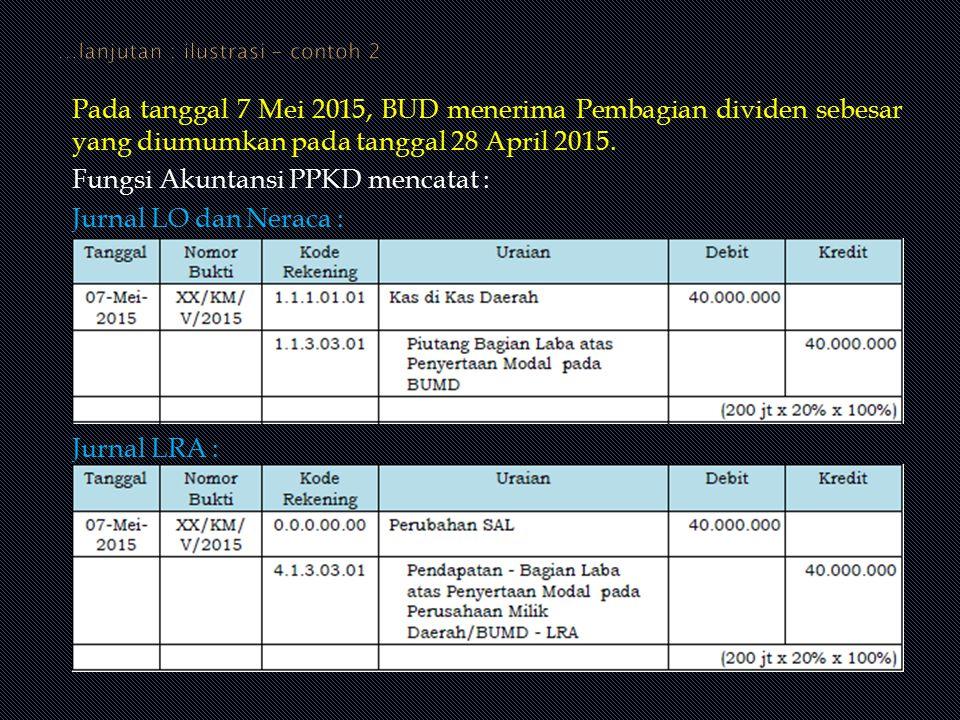 Pada tanggal 7 Mei 2015, BUD menerima Pembagian dividen sebesar yang diumumkan pada tanggal 28 April 2015. Fungsi Akuntansi PPKD mencatat : Jurnal LO
