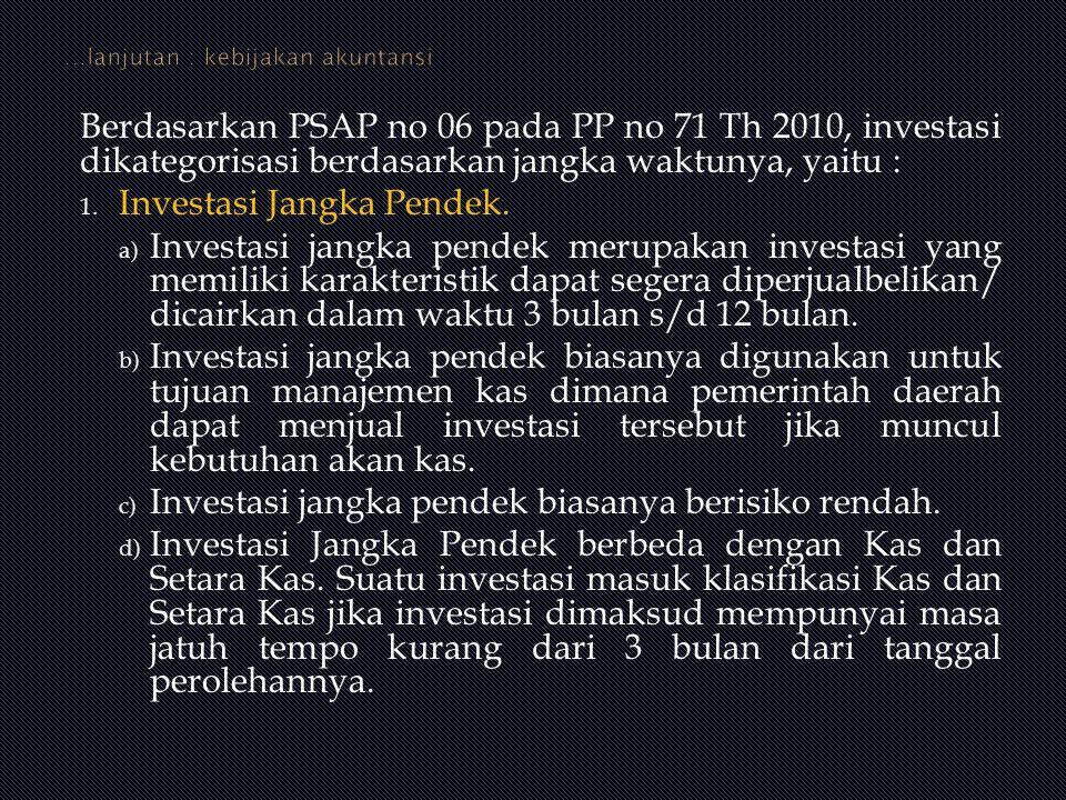 Berdasarkan PSAP no 06 pada PP no 71 Th 2010, investasi dikategorisasi berdasarkan jangka waktunya, yaitu : 1. Investasi Jangka Pendek. a) Investasi j