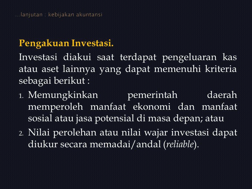 Pengakuan Investasi. Investasi diakui saat terdapat pengeluaran kas atau aset lainnya yang dapat memenuhi kriteria sebagai berikut : 1. Memungkinkan p
