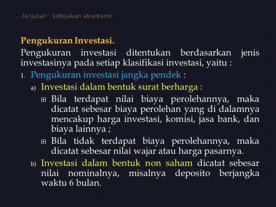 Pengukuran Investasi. Pengukuran investasi ditentukan berdasarkan jenis investasinya pada setiap klasifikasi investasi, yaitu : 1. Pengukuran investas