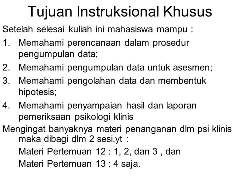 Tujuan Instruksional Khusus Setelah selesai kuliah ini mahasiswa mampu : 1.Memahami perencanaan dalam prosedur pengumpulan data; 2.Memahami pengumpula
