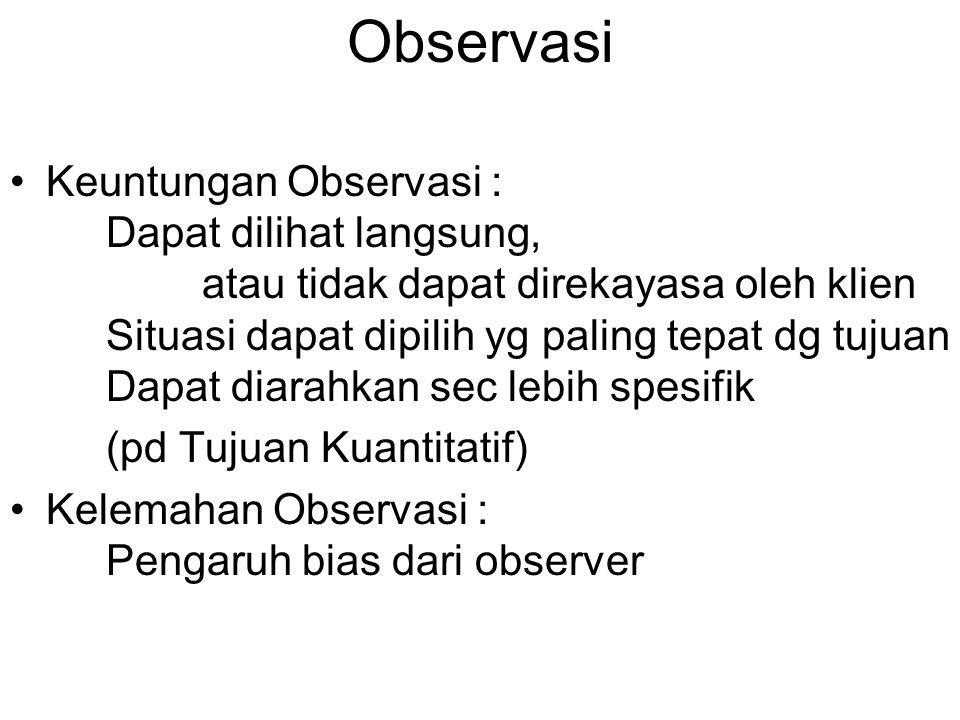 Observasi Keuntungan Observasi : Dapat dilihat langsung, atau tidak dapat direkayasa oleh klien Situasi dapat dipilih yg paling tepat dg tujuan Dapat