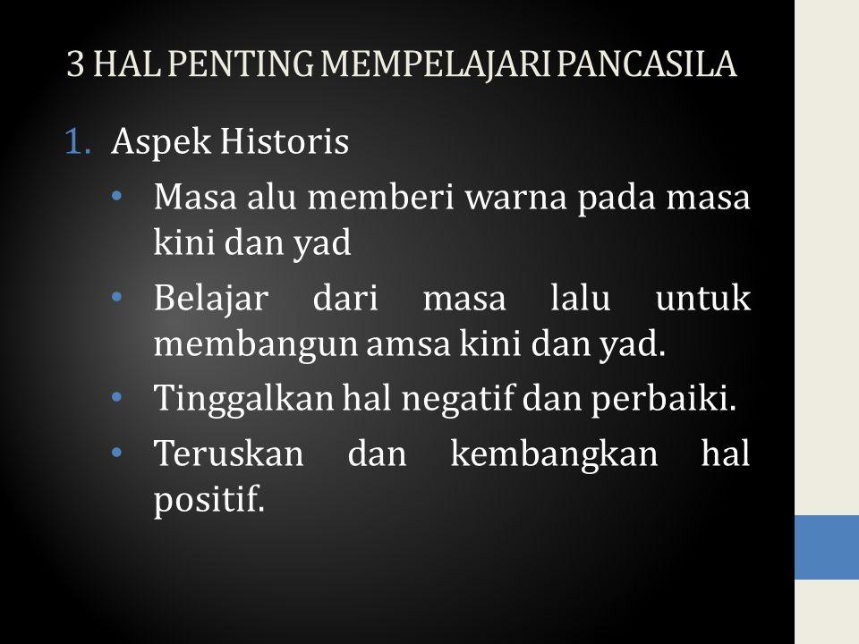 3 HAL PENTING MEMPELAJARI PANCASILA 1.Aspek Historis Masa alu memberi warna pada masa kini dan yad Belajar dari masa lalu untuk membangun amsa kini dan yad.