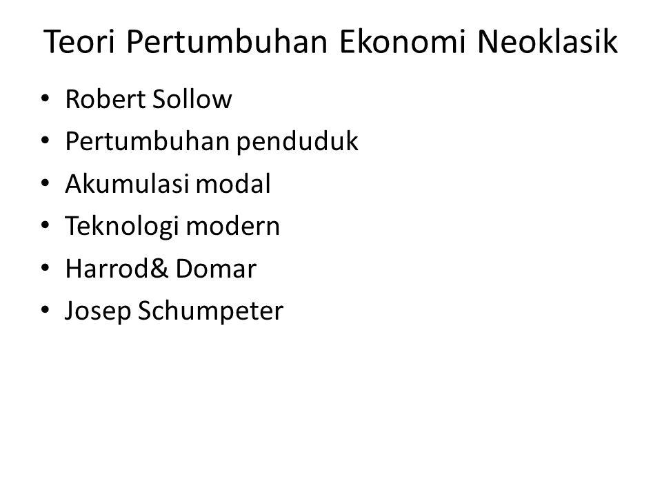 Teori Pertumbuhan Ekonomi Neoklasik Robert Sollow Pertumbuhan penduduk Akumulasi modal Teknologi modern Harrod& Domar Josep Schumpeter