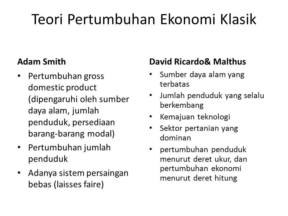 Teori Pertumbuhan Ekonomi Klasik Adam Smith Pertumbuhan gross domestic product (dipengaruhi oleh sumber daya alam, jumlah penduduk, persediaan barang-