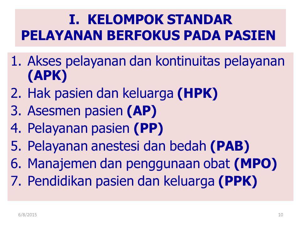I. KELOMPOK STANDAR PELAYANAN BERFOKUS PADA PASIEN 1.Akses pelayanan dan kontinuitas pelayanan (APK) 2.Hak pasien dan keluarga (HPK) 3.Asesmen pasien