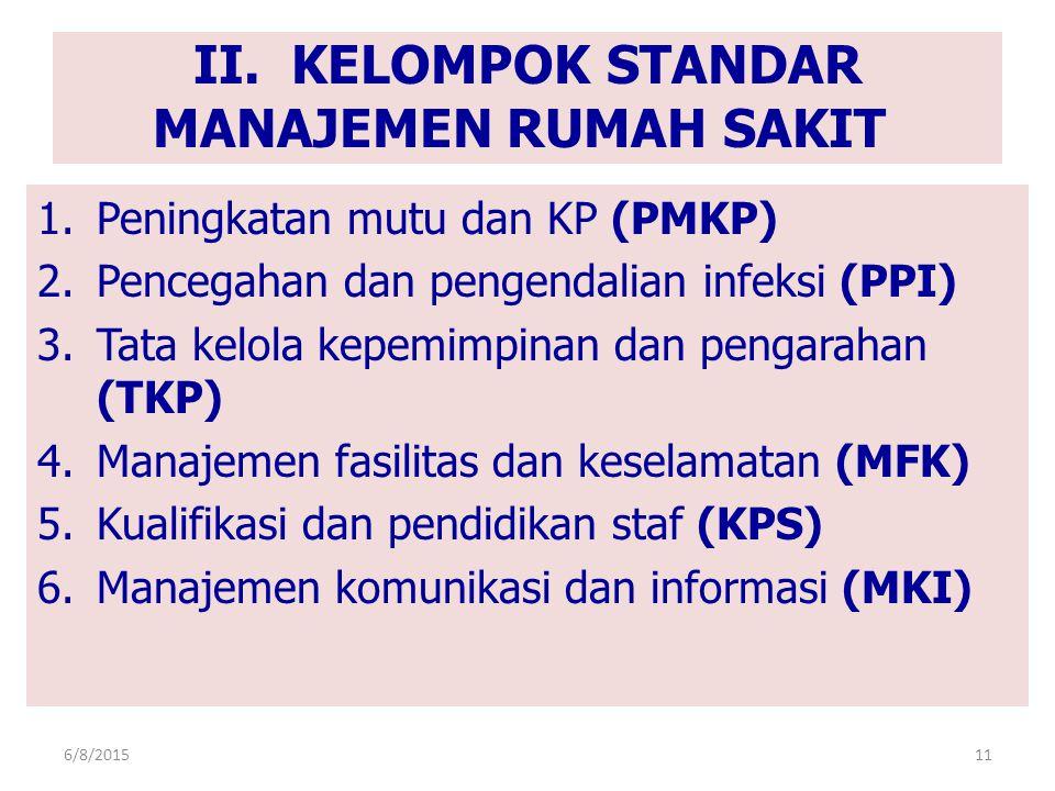 II. KELOMPOK STANDAR MANAJEMEN RUMAH SAKIT 1.Peningkatan mutu dan KP (PMKP) 2.Pencegahan dan pengendalian infeksi (PPI) 3.Tata kelola kepemimpinan dan