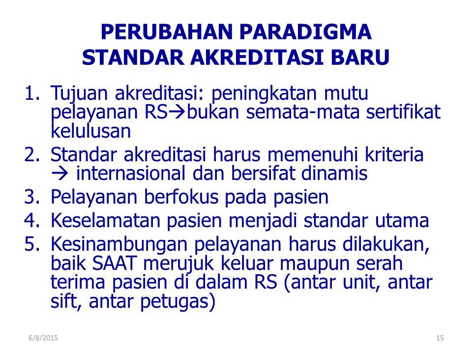 PERUBAHAN PARADIGMA STANDAR AKREDITASI BARU 1.Tujuan akreditasi: peningkatan mutu pelayanan RS  bukan semata-mata sertifikat kelulusan 2.Standar akre