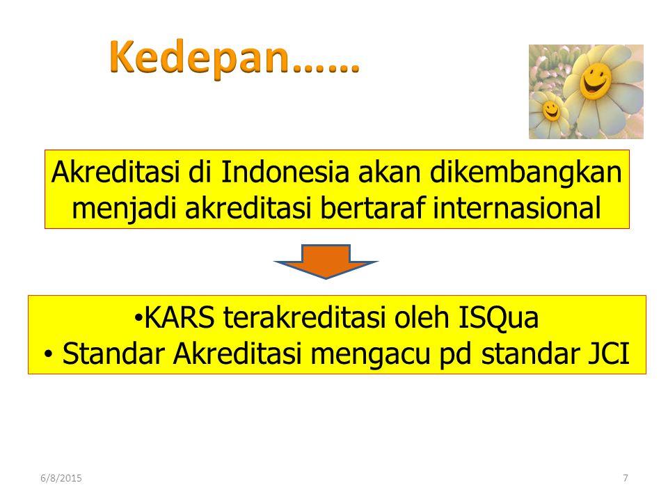 Akreditasi di Indonesia akan dikembangkan menjadi akreditasi bertaraf internasional KARS terakreditasi oleh ISQua Standar Akreditasi mengacu pd standa