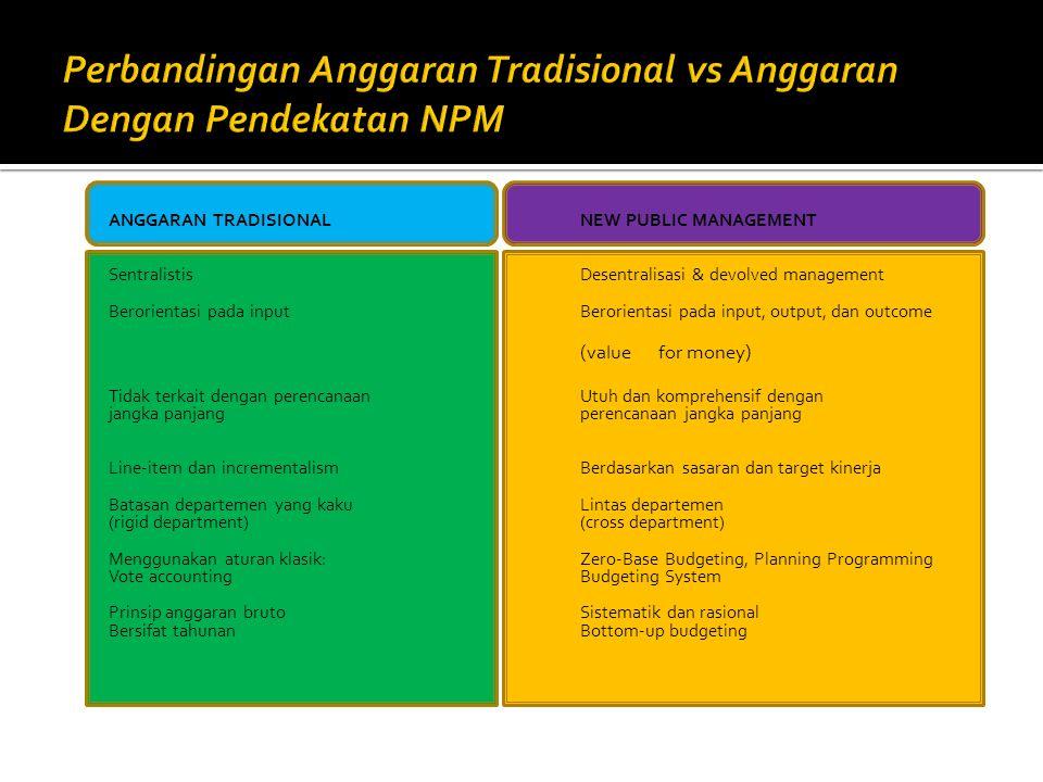 ANGGARAN TRADISIONAL NEW PUBLIC MANAGEMENT Sentralistis Desentralisasi & devolved management Berorientasi pada input Berorientasi pada input, output,