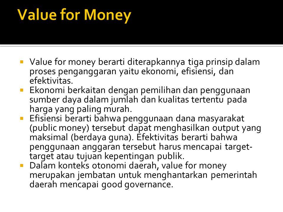  Value for money berarti diterapkannya tiga prinsip dalam proses penganggaran yaitu ekonomi, efisiensi, dan efektivitas.  Ekonomi berkaitan dengan p
