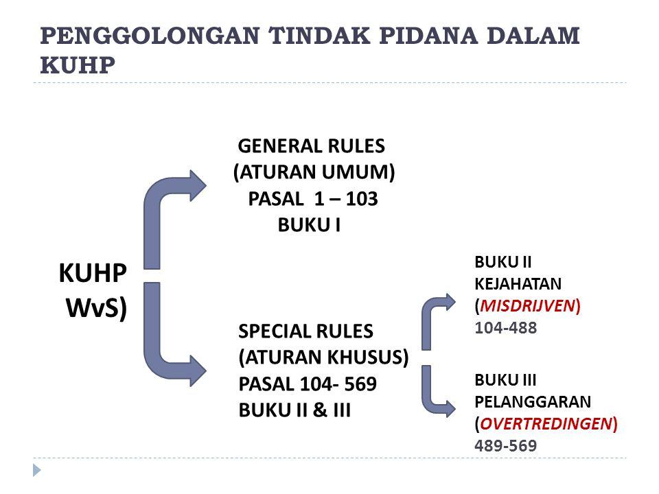 PENGGOLONGAN TINDAK PIDANA DALAM KUHP KUHP WvS) GENERAL RULES (ATURAN UMUM) PASAL 1 – 103 BUKU I SPECIAL RULES (ATURAN KHUSUS) PASAL 104- 569 BUKU II
