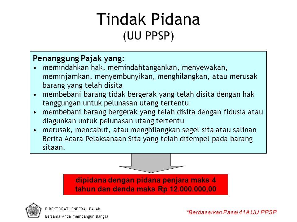 Tindak Pidana (UU PPSP) DIREKTORAT JENDERAL PAJAK Bersama Anda membangun Bangsa *Berdasarkan Pasal 41A UU PPSP Penanggung Pajak yang: memindahkan hak,