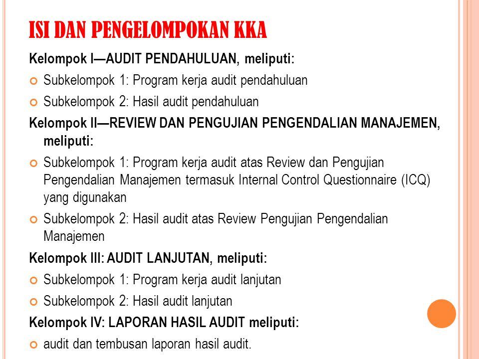 ISI DAN PENGELOMPOKAN KKA Kelompok I—AUDIT PENDAHULUAN, meliputi: Subkelompok 1: Program kerja audit pendahuluan Subkelompok 2: Hasil audit pendahulua