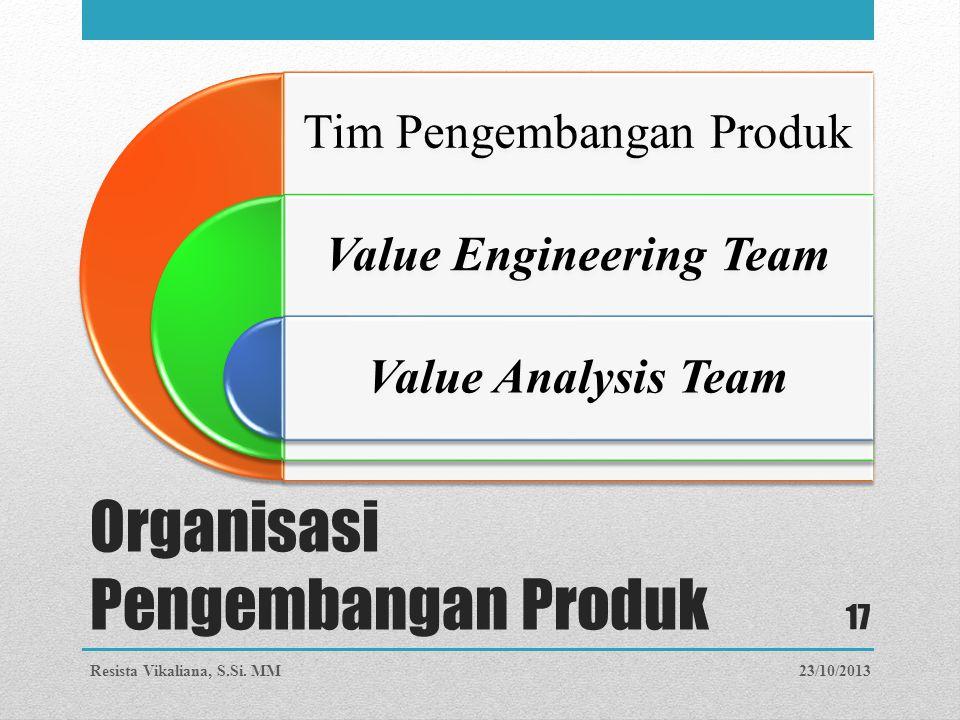 Organisasi Pengembangan Produk Tim Pengembangan Produk Value Engineering Team Value Analysis Team 23/10/2013Resista Vikaliana, S.Si. MM 17