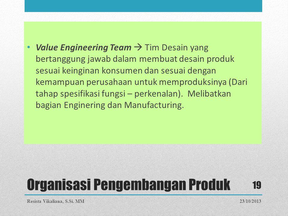 Organisasi Pengembangan Produk Value Engineering Team  Tim Desain yang bertanggung jawab dalam membuat desain produk sesuai keinginan konsumen dan se