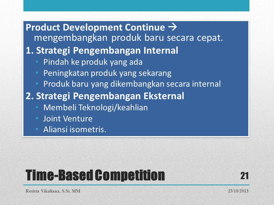 Time-Based Competition Product Development Continue  mengembangkan produk baru secara cepat. 1. Strategi Pengembangan Internal Pindah ke produk yang