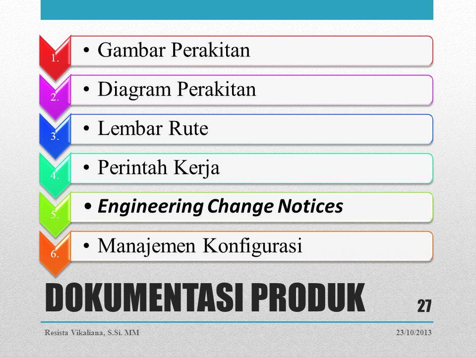 DOKUMENTASI PRODUK 1. Gambar Perakitan 2. Diagram Perakitan 3. Lembar Rute 4. Perintah Kerja 5. Engineering Change Notices 6. Manajemen Konfigurasi 23