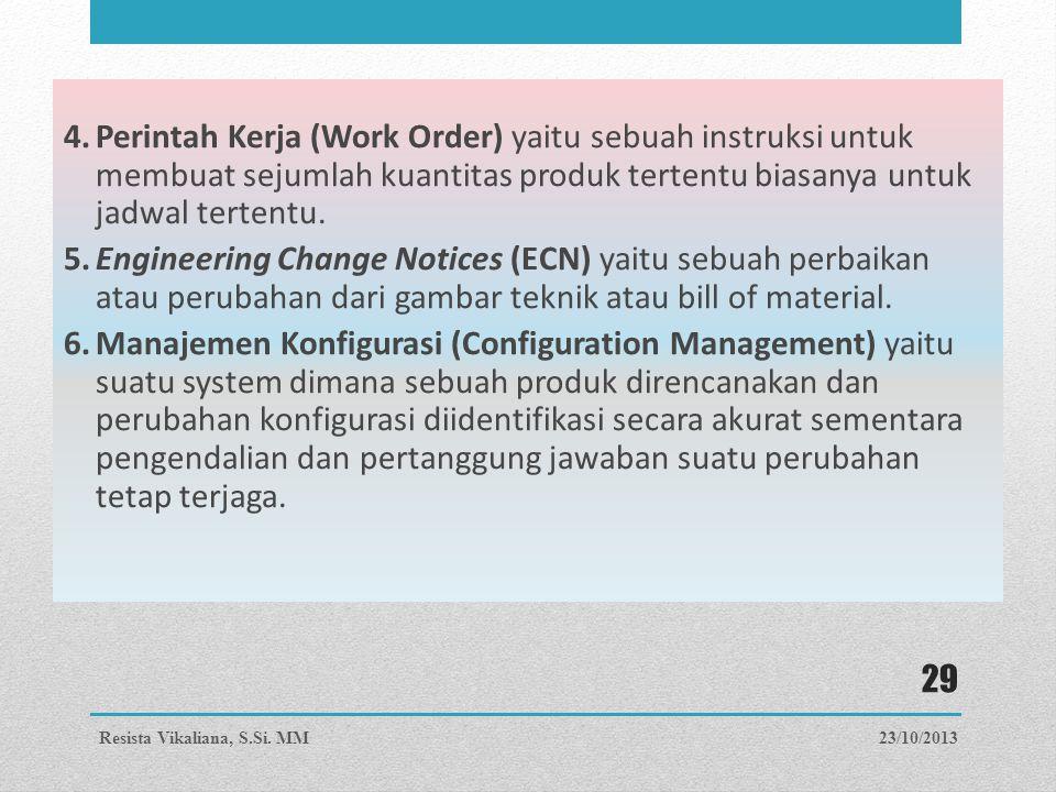 4.Perintah Kerja (Work Order) yaitu sebuah instruksi untuk membuat sejumlah kuantitas produk tertentu biasanya untuk jadwal tertentu. 5.Engineering Ch