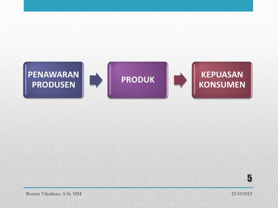 PENAWARAN PRODUSEN PRODUK KEPUASAN KONSUMEN 23/10/2013Resista Vikaliana, S.Si. MM 5